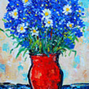 Albastrele Blue Flowers And Daisies Poster by Ana Maria Edulescu