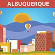 Albuquerque New Mexico Horizontal Skyline Poster