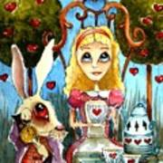 Alice And The Rabbit Having Tea... Poster by Lucia Stewart