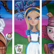 Alice In Wonderland Inspired Triptych Poster