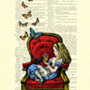Alice In Wonderland Playing With Cute Cat And Butterflies Poster