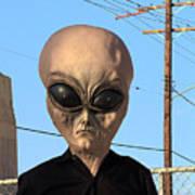 Alien Face At 6th Street Bridge Poster