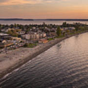 Alki Point Aerial Sunset Poster