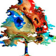 All Seasons Tree 3 - Colorful Landscape Print Poster
