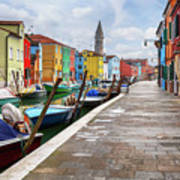 Along The Canal In Burano Island Poster