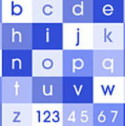 Alphabet Blue Poster by Michael Tompsett