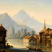 Alpine Lake Scenery With City View Poster