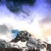 Alpine Mountains And Clouds Watercolour Poster