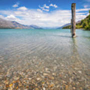 Alpine Scenery From Dart River Bed In Kinloch, New Zealand Poster