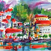 Amalfi Coast Italy Expressive Watercolor Poster
