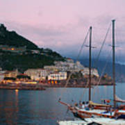 Amalfi Harbor Sunset Poster