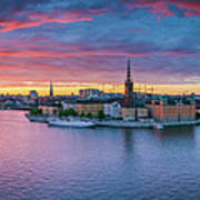 Dramatic Sunset Over Stockholm Poster