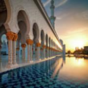 Amazing Sunset View At Mosque, Abu Dhabi, United Arab Emirates Poster