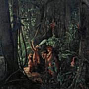 Amazonian Indians Worshiping The Sun God Poster