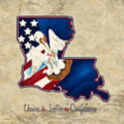 American And Louisiana Pride Poster