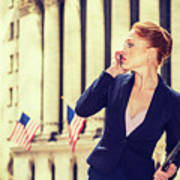 American Businesswoman Working In New York Poster