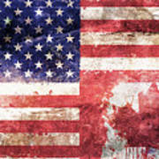 American Canadian Tattered Flag Poster