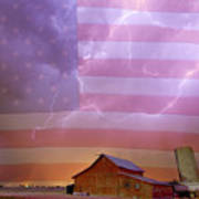 American Country Stormy Night Poster
