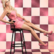 American Culture Pin Up Girl Inside 60s Retro Diner Poster