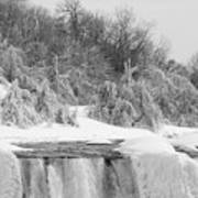 American Falls In Winter In Black And White Poster