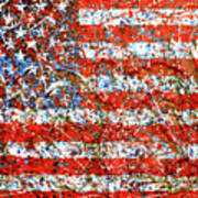American Flag Abstract 2 With Trees  Poster