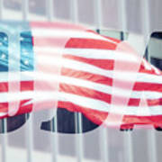 American Flag In Front Of Business Building  Poster
