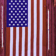 American Flag In Red Window Poster