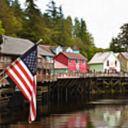 American Flag On Creek Street Ketchikan Alaska Painting Poster
