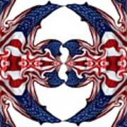 American Flag Polar Coordinate Abstract 1 Poster