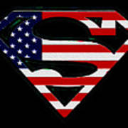 American Flag Superman Shield Poster