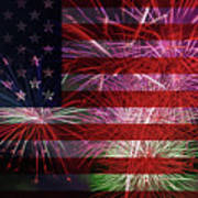 American Flag With Fireworks Display Poster