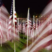 American Flags Tribute To 9-11 Poster