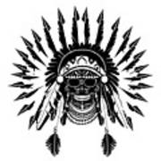 American Indian Skull Icon Background, Black And White  Poster