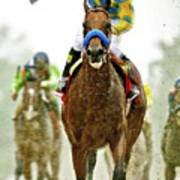 American Pharoah And Victor Espinoza Win The 2015 Preakness Stakes. Poster