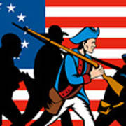 American Revolutionary Soldier Marching Poster