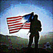 American Soldier With Flag Poster