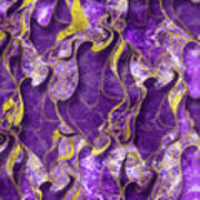 Amethyst  With Gold Marbled Texture Poster