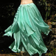 Ameynra Design Aqua-green Chiffon Skirt Poster