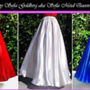 Ameynra Design. Satin Skirts - Red, White, Blue Poster