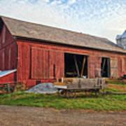 Amish Barn At Sunrise Poster
