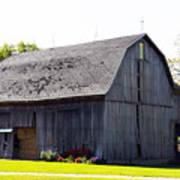 Amish Barn With Gambrel Roof And Hay Bales Indiana Usa Poster