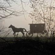Amish Buggy Foggy Sunday Poster