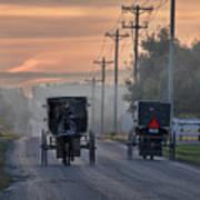 Amish Buggy Sunday Morning Poster