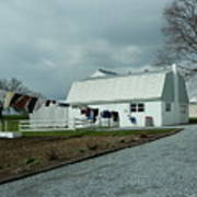 Amish Clothesline And A Barn Poster