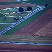 Amish Funeral Buggie Procession Aerial  Poster
