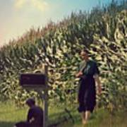 Amish Girls Watermelon Break Poster