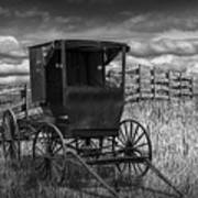 Amish Horse Buggy In Black And White Poster