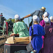 Amish On Steam Engine Poster