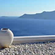 Amphora In Santorini, Greece Poster