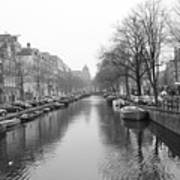 Amsterdam Canal Black And White 2 Poster